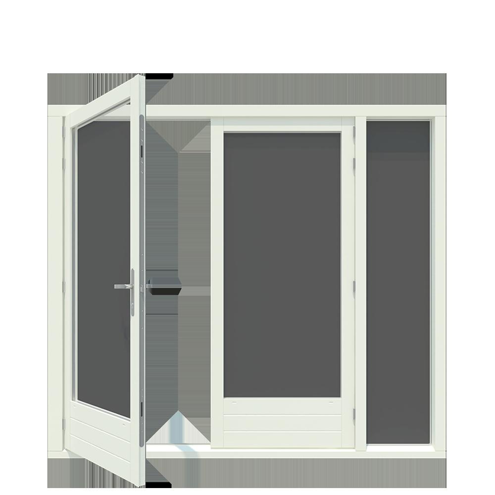 Tuindeur kozijn met boven en zijlicht 1-stel afgehangen tuindeuren. - Houten Kozijn Online