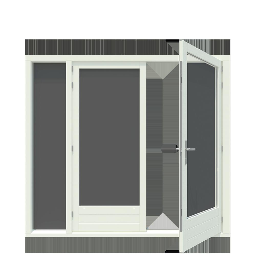 Tuindeur kozijn met boven en zijlicht inclusief 1 stel afgehangen tuindeuren. - Houten Kozijnen Online