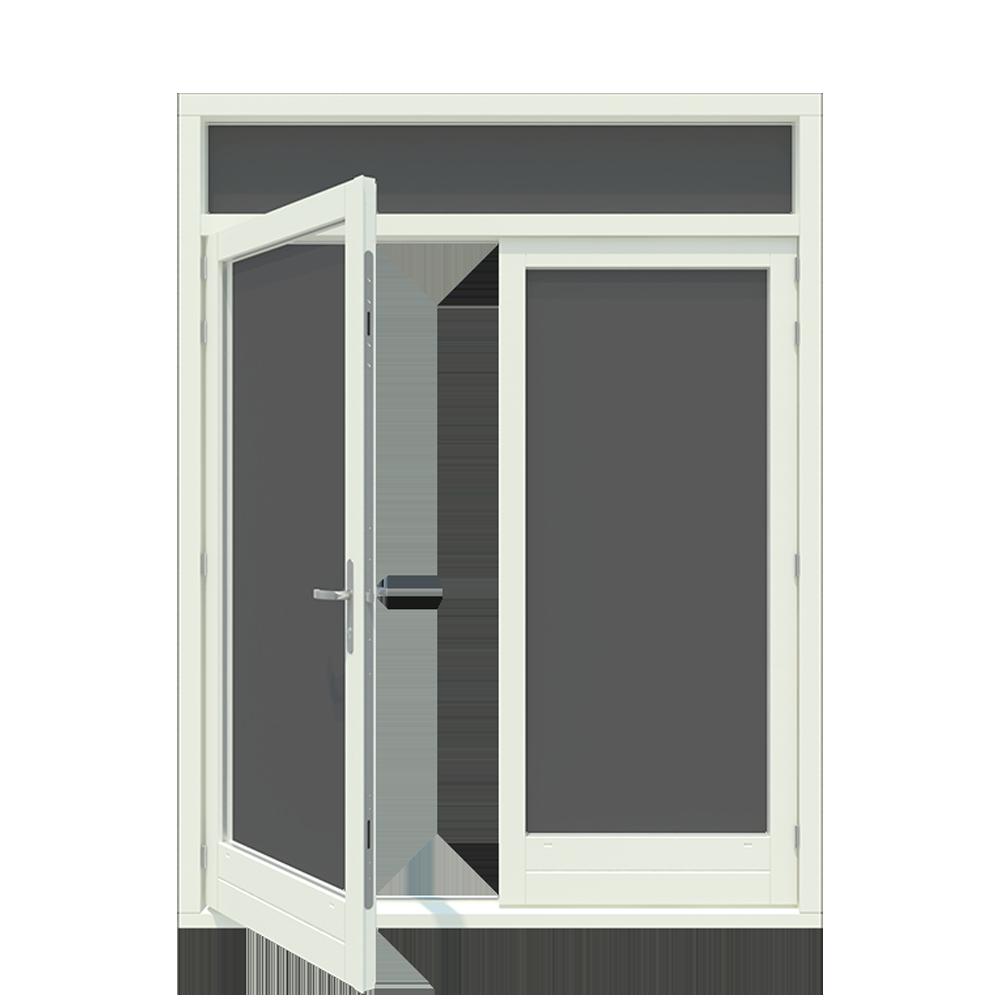 Tuindeur kozijn met 1 of 2-vaks bovenlicht inclusief 1 stel afgehangen tuindeuren. - Houten Kozijn Online