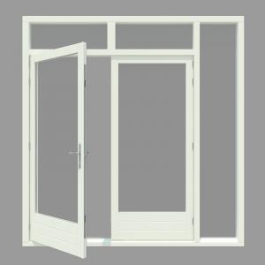 Tuindeur kozijn met 1x zijlicht inclusief 1 stel afgehangen tuindeuren. - Houten Kozijn Online