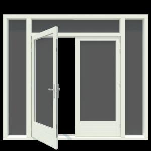 Tuindeur kozijn met boven en 2x zijlicht inclusief 1 stel afgehangen tuindeuren. - Houten Kozijn Online