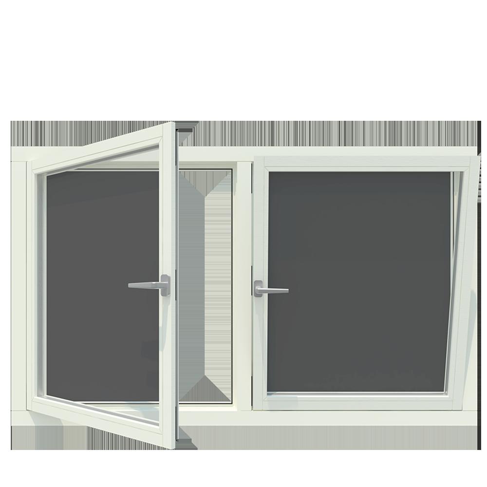 2-vaks kozijn inclusief 2x draai kiep-raam. - Houten Kozijn Online