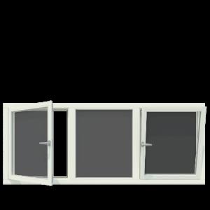 3-vaks kozijn inclusief 2x draai- kiepraam. - Houten Kozijn Online