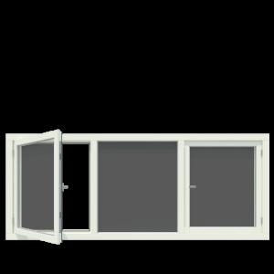 3-vaks kozijn inclusief 2x draairaam. - Houten Kozijn Online