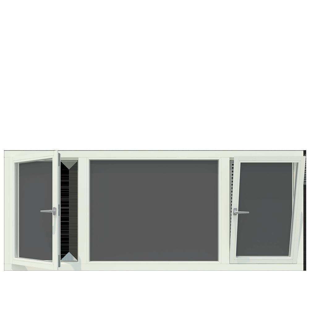 3-vaks kozijn inclusief 2x draai-kiep raam. - Houten Kozijn Online